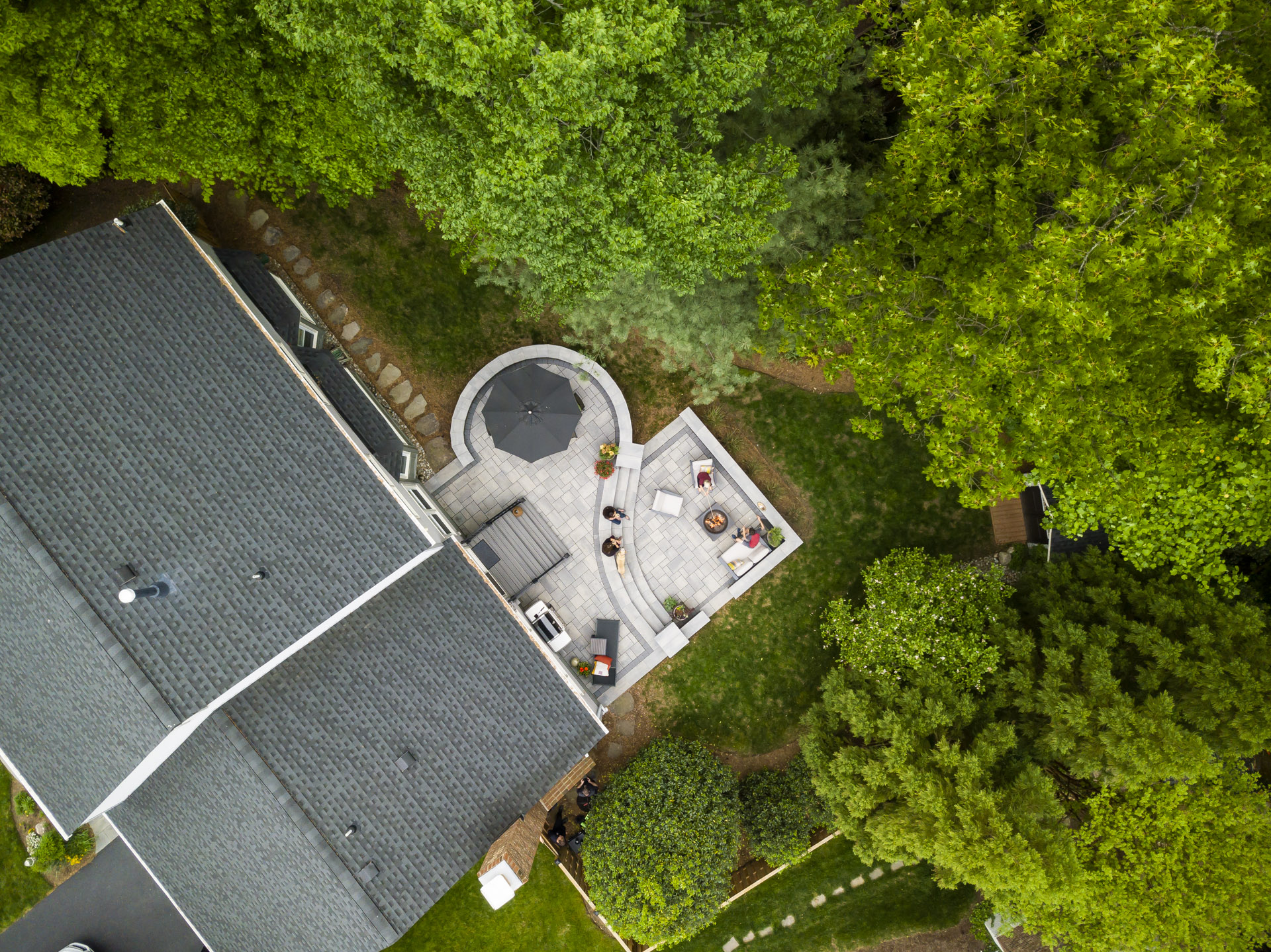 aerial view of two-tiered curved patio