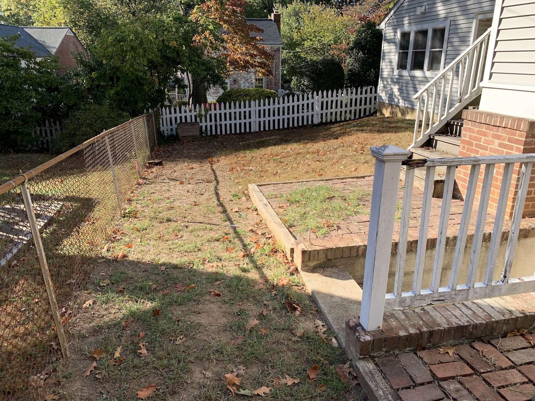 arlington va landscaping project before image backyard