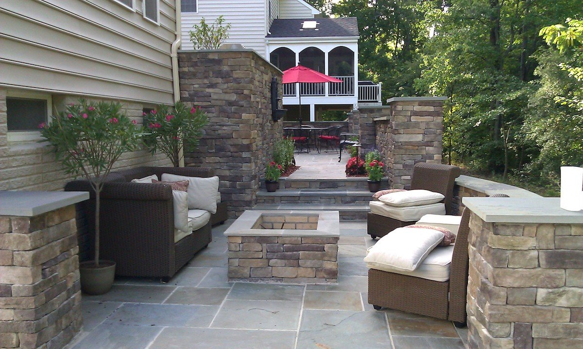 Beautiful custom patio with fire pit