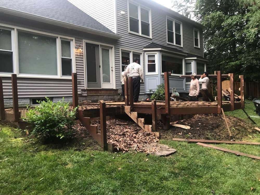 backyard deck before landscape redesign in Alexandria, VA