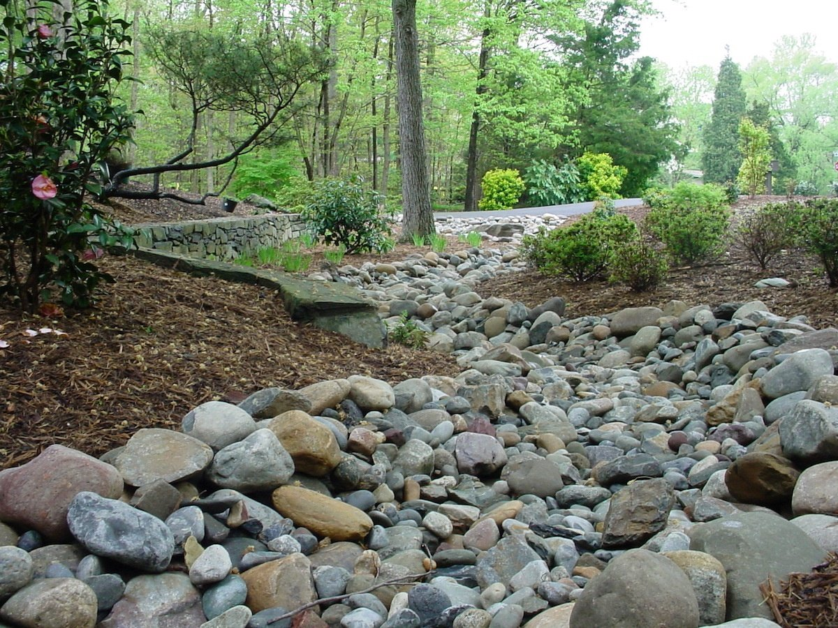 Dry creek bed drainage solution