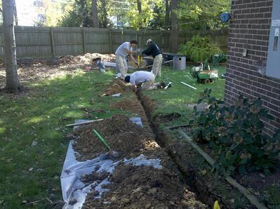 lawn drainage trench installation