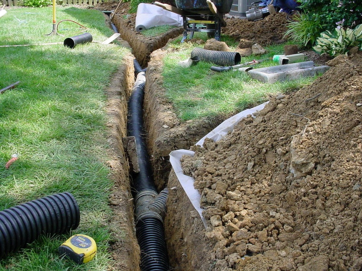 Stormwater management drainage trench
