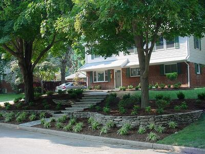 sloped front yard with retaining wall, plants, and trees
