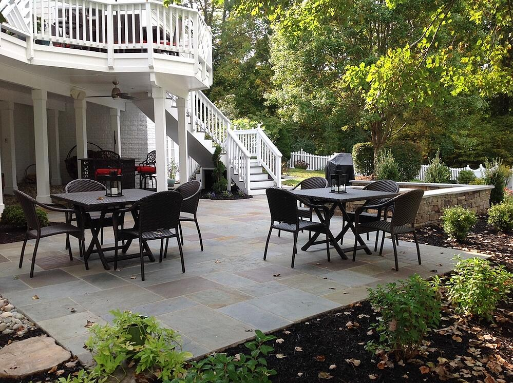 deck and flagstone patio built by a landscaping company