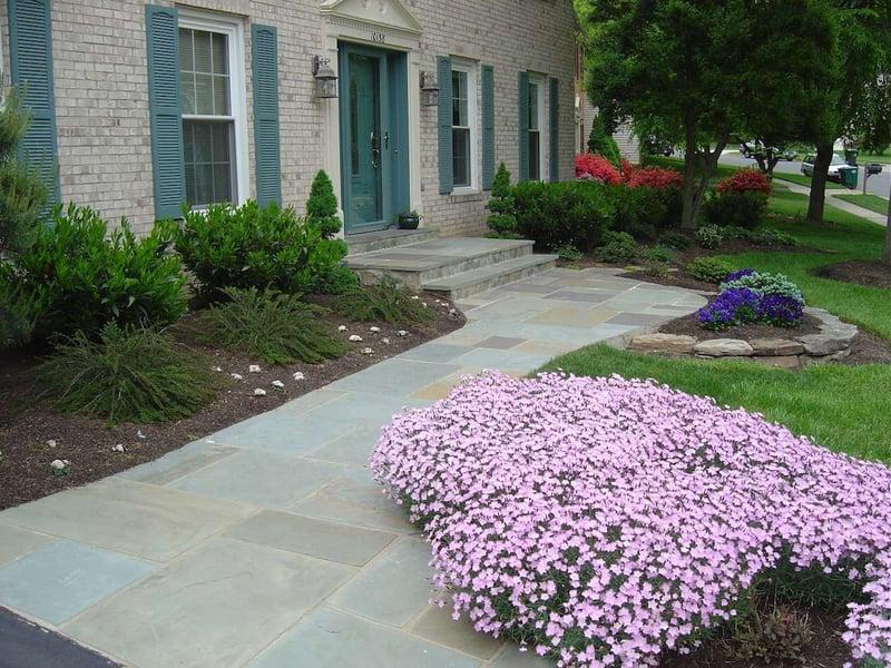 Natural stone walkway design at house in Alexandria, VA