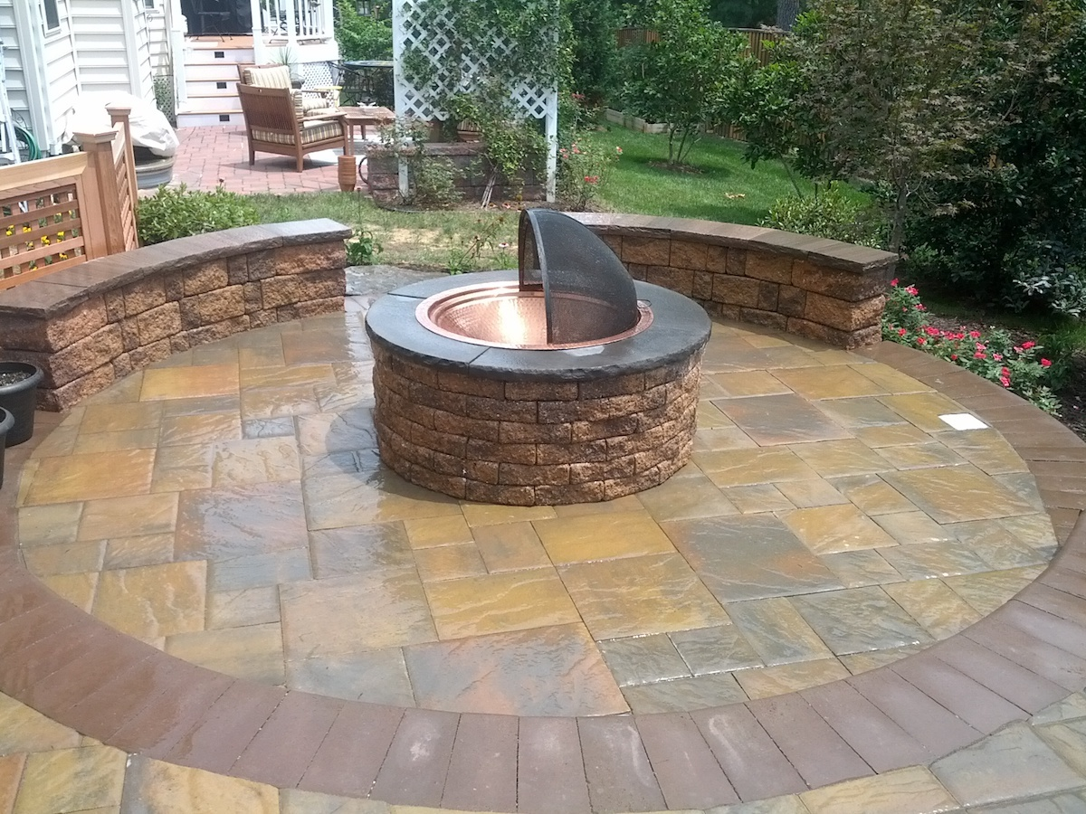 Fire pit on patio with accessories