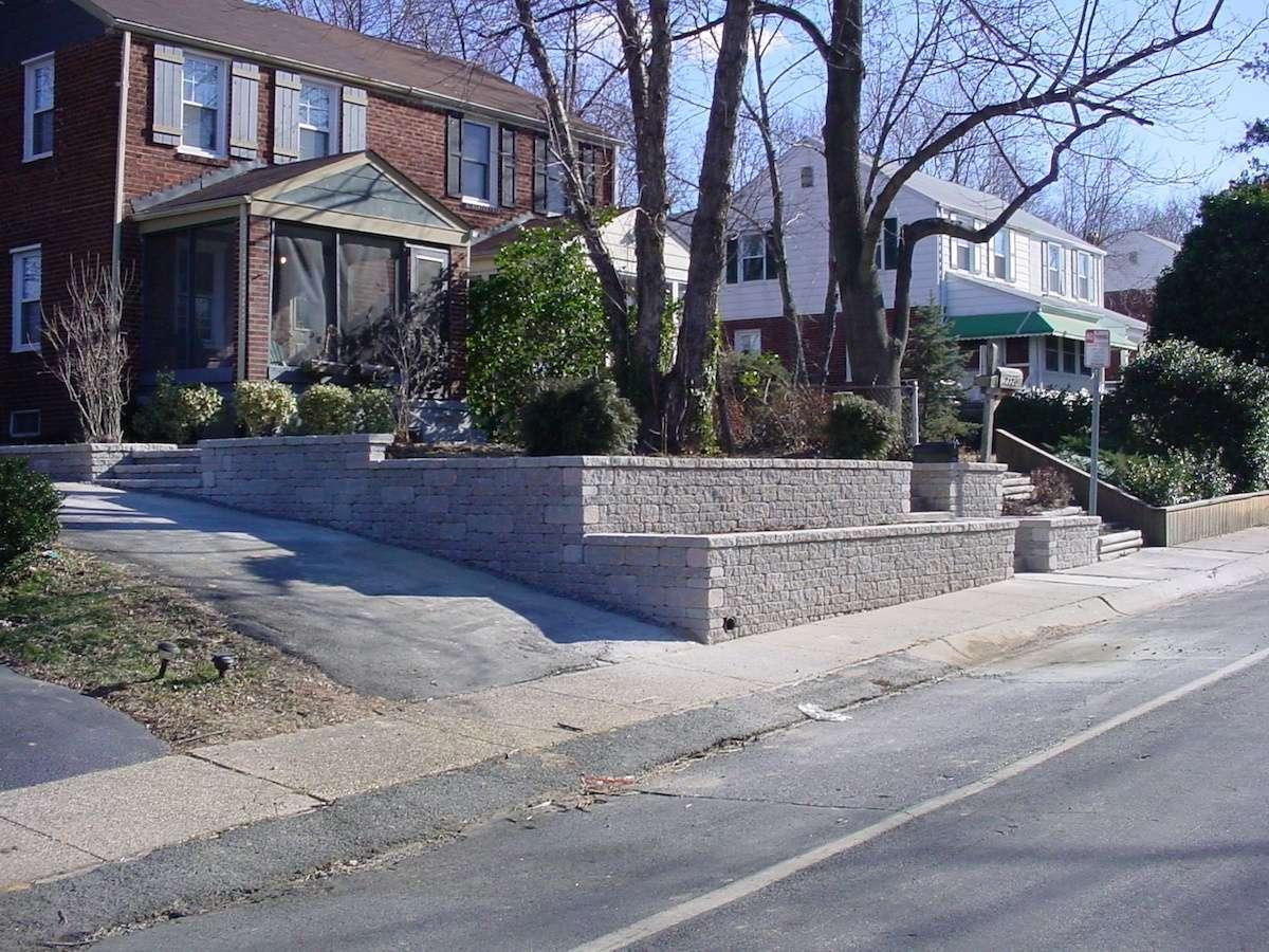 terrace built in sloped front yard