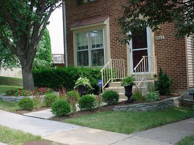 Townhouse front yard with professional landscaping