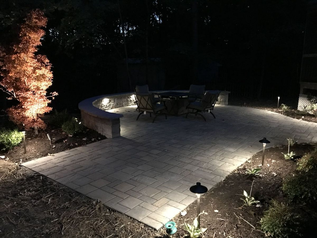 landscape lighting uinstalled around patio