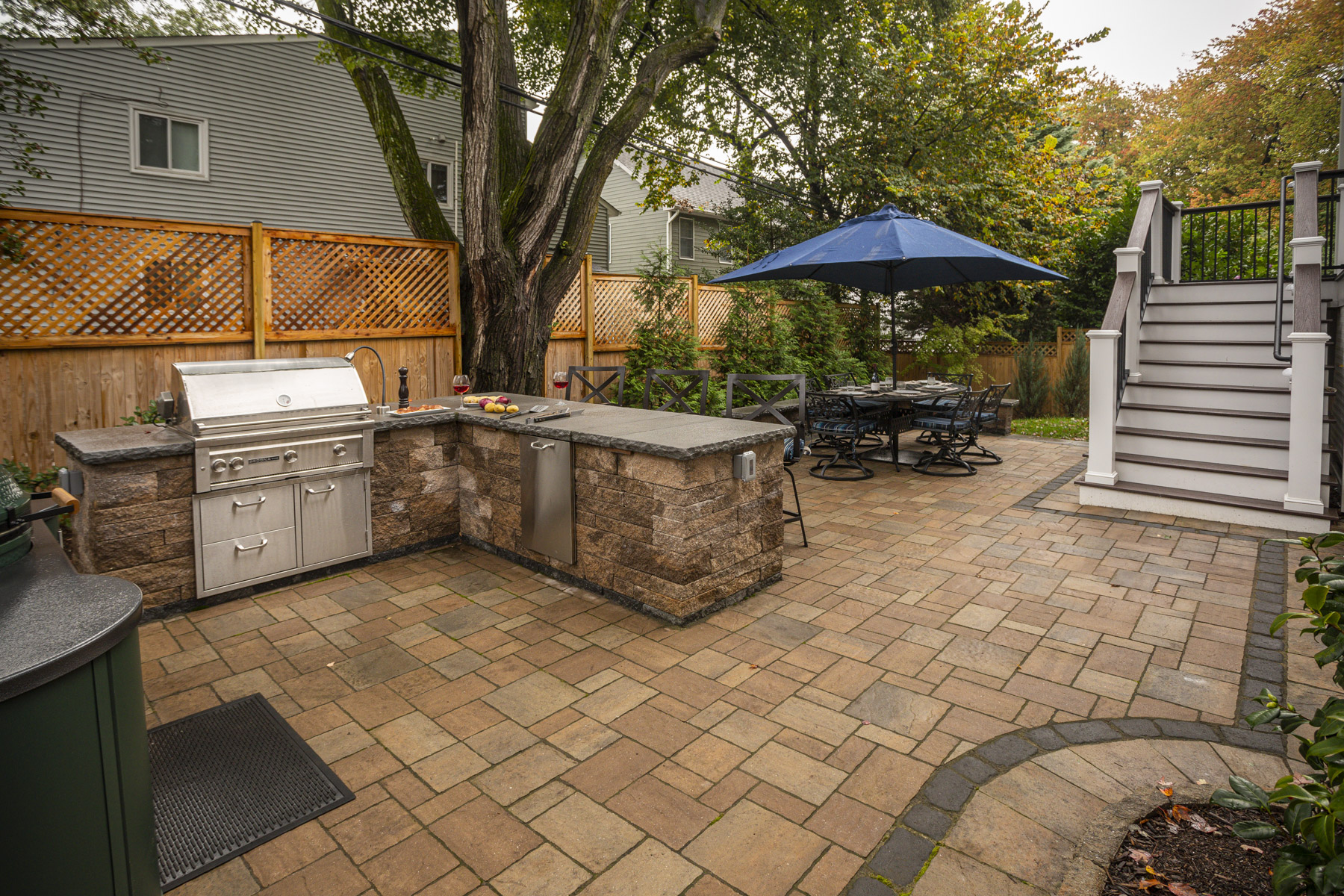 Paver patio and outdoor kitchen installation