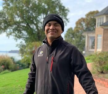 Kingstowne Lawn & Landscape employee Marvin Orellana