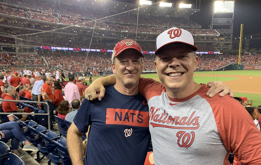 Mike Perez and Krisjan Berzins at Nationals game