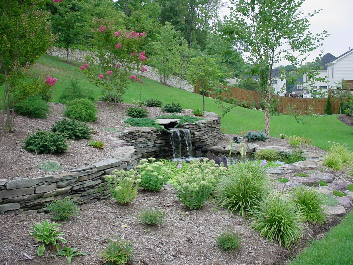 sloped yard with retaining wall and plants