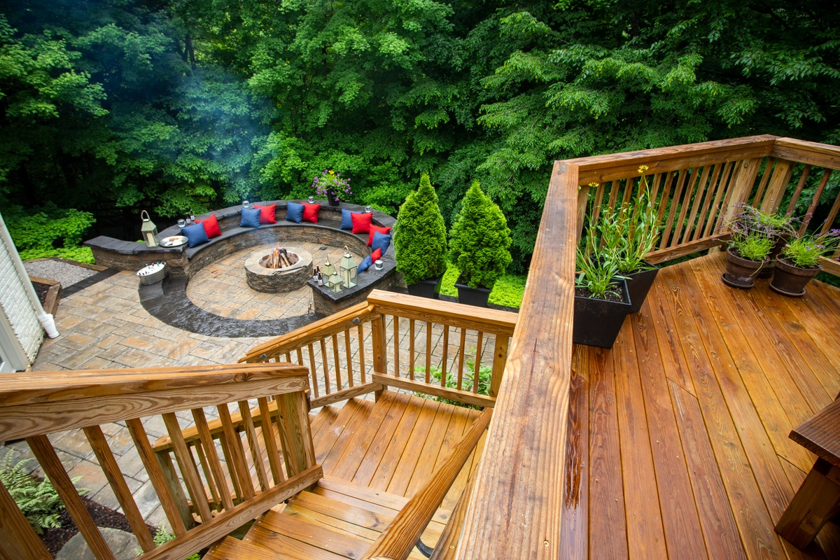 Backyard landscape with deck, patio and fire pit