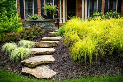plant bed and rock steps with mulch installed by Kingstowne Lawn & Landscape