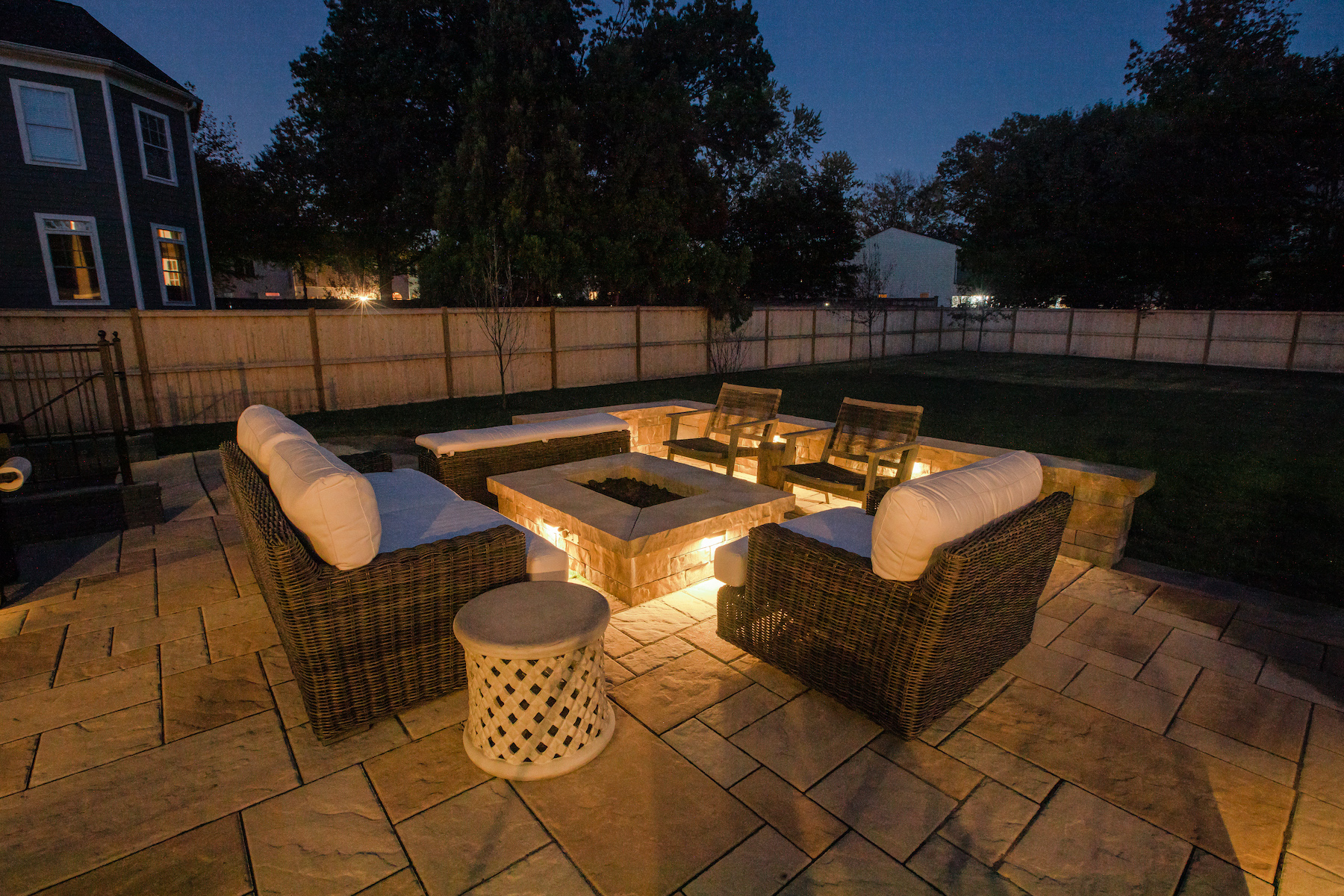 landscape lighting and fire feature