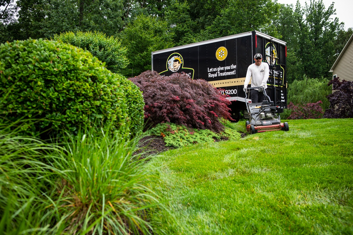 Kingstowne Lawn and Landscaping company technician mowing nice lawn
