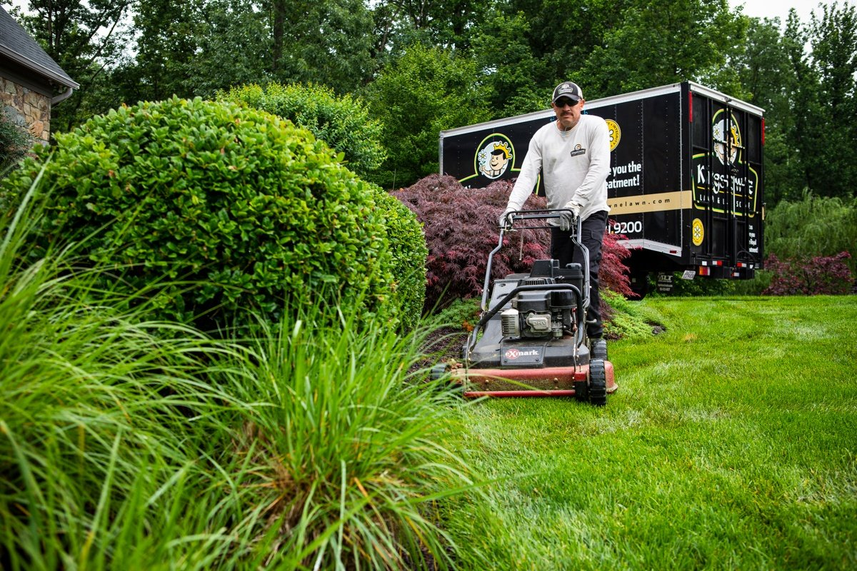 Kingstowne lawn care technician mowing healthy grass in Alexandria, VA