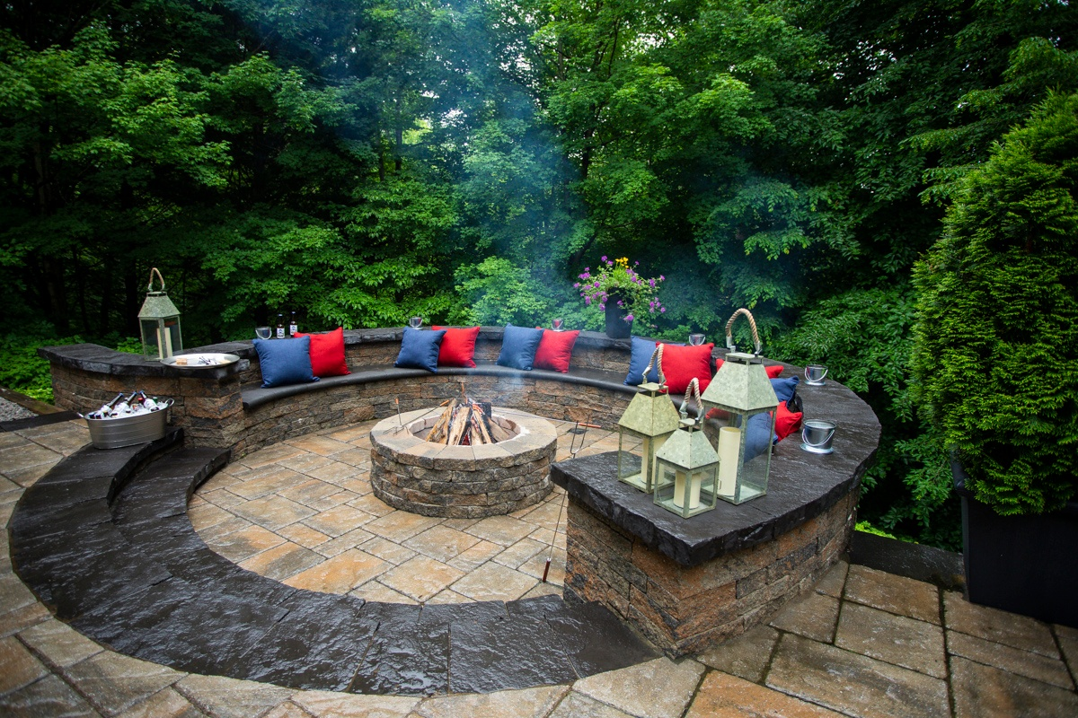 built in fire pit on patio
