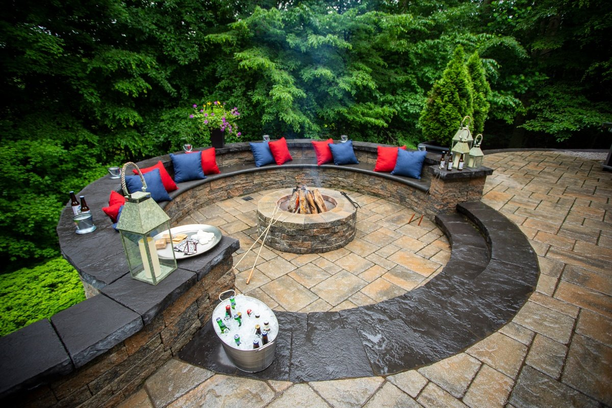 Private backyard patio with fire pit