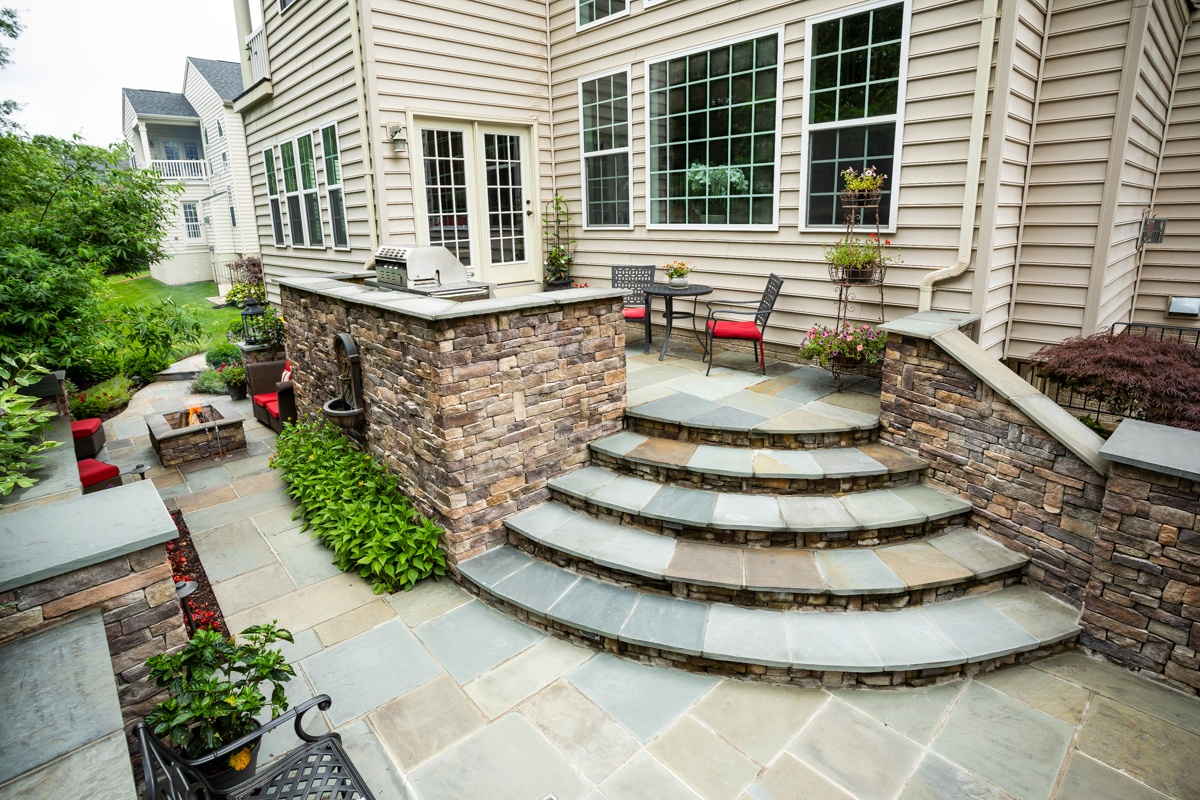 Flag stone steps and patio