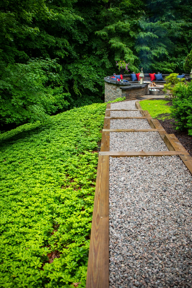 gravel walkway and steps to firepit