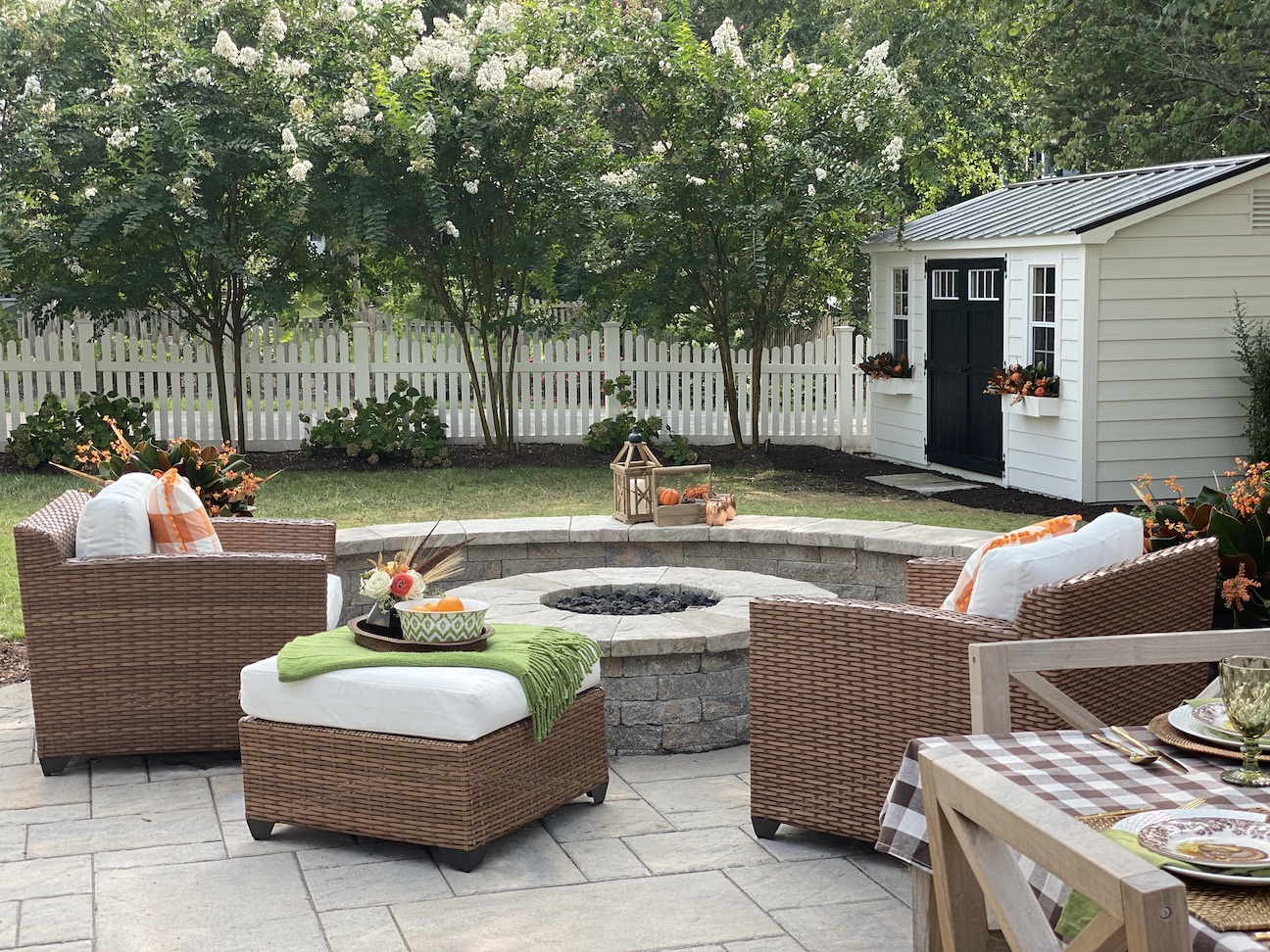 Fire pit and paver patio with seating