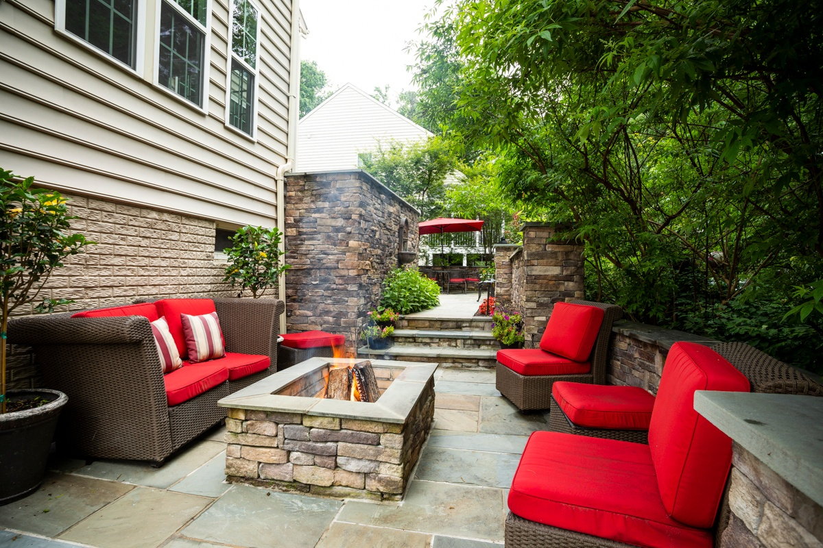 Case Study: Alexandria, VA Landscape Design with Patio, Fire Pit, Walls, Water Features, and More